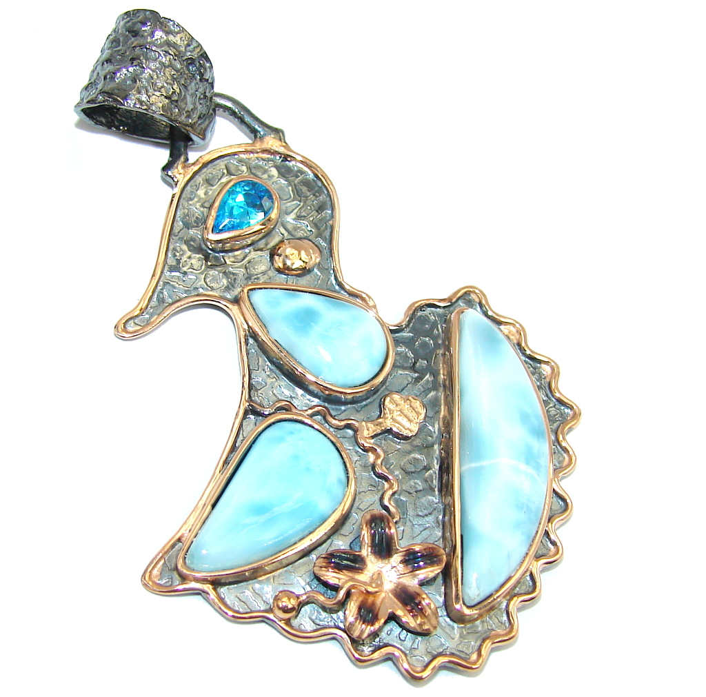 Beautiful AAA Blue Larimar, Rose Gold Plated, Rhodium Plated Sterling Silver..