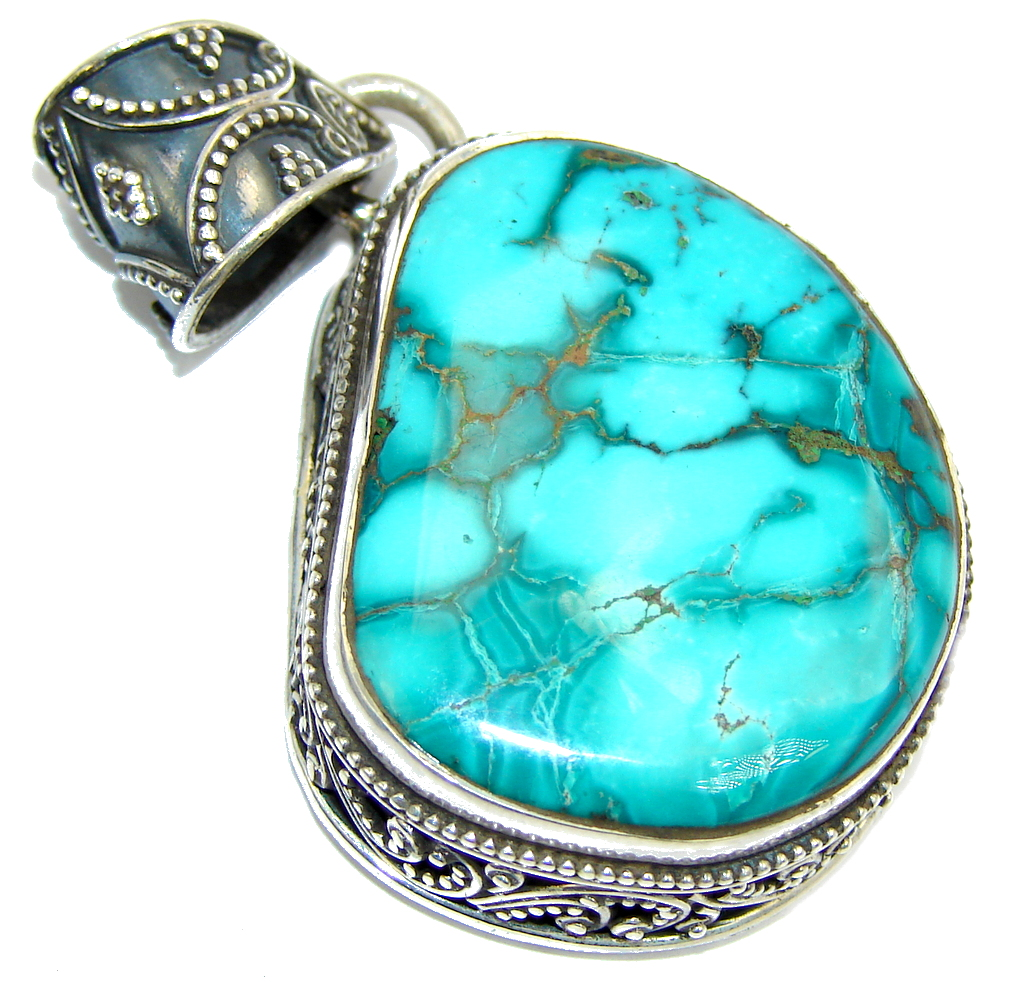 Big! Secret Blue Ocean Turquoise Sterling Silver Pendant