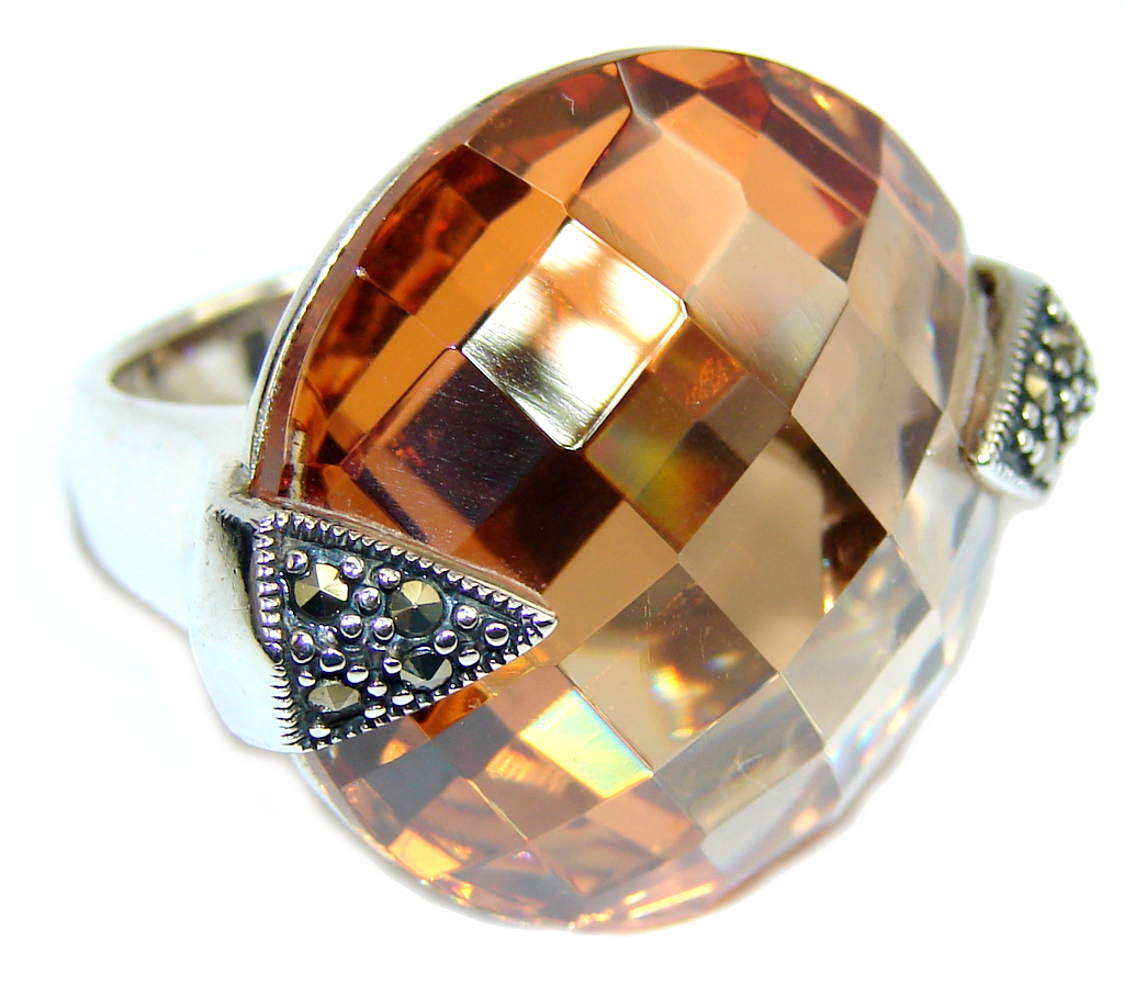 marcassite.com view the photo of  Real Beauty Golden Topaz Sterling Silver Ring s. 7 1/2