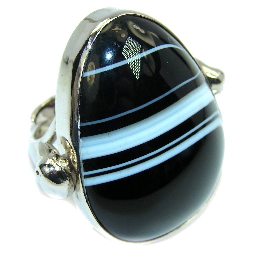 Big! Excellent Botswana Agate Sterling Silver Ring s. 7 - adjustable