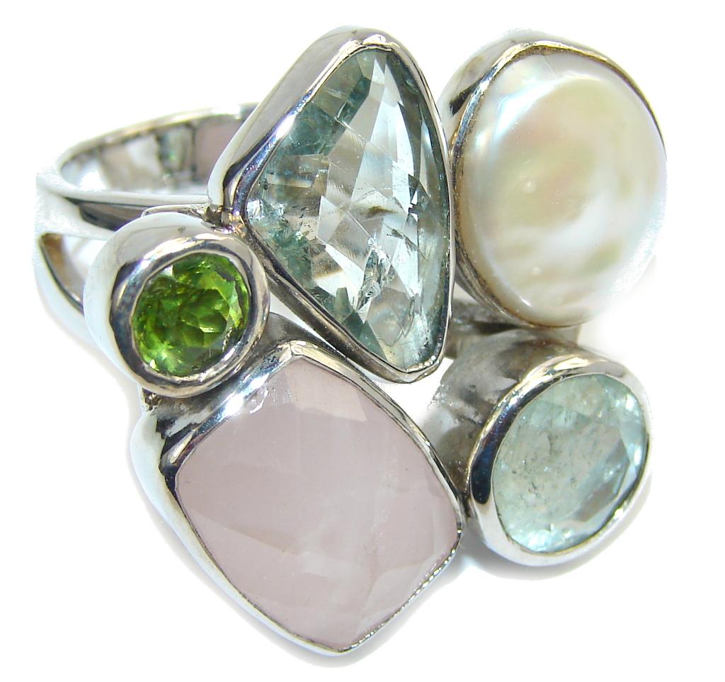 Amazing Garden Rose Quartz Sterling Silver Ring s. 7 1/2