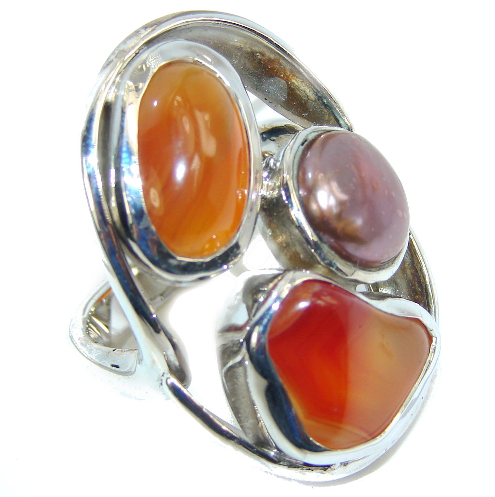 Big! Deep Secret AAA Carnelian & Mother of Pearl Sterling Silver Ring s. 8 1/2