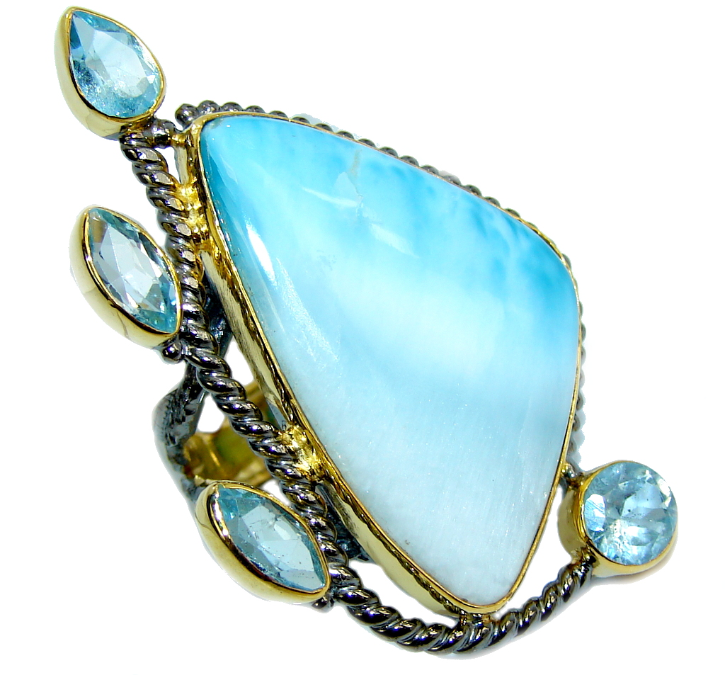 AAA Blue Larimar Swiss Blue Topaz Gold Plated, Rhodium Plated Sterling Silver Ring s. 8