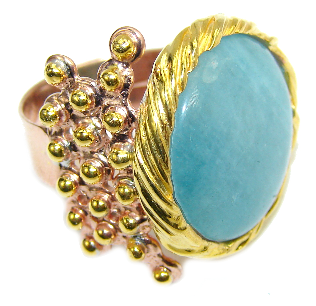 Passiom Fruit AAA Aquamarine Gold Plated, Rhodium Plated Sterling Silver Ring s. 6 3/4 103478