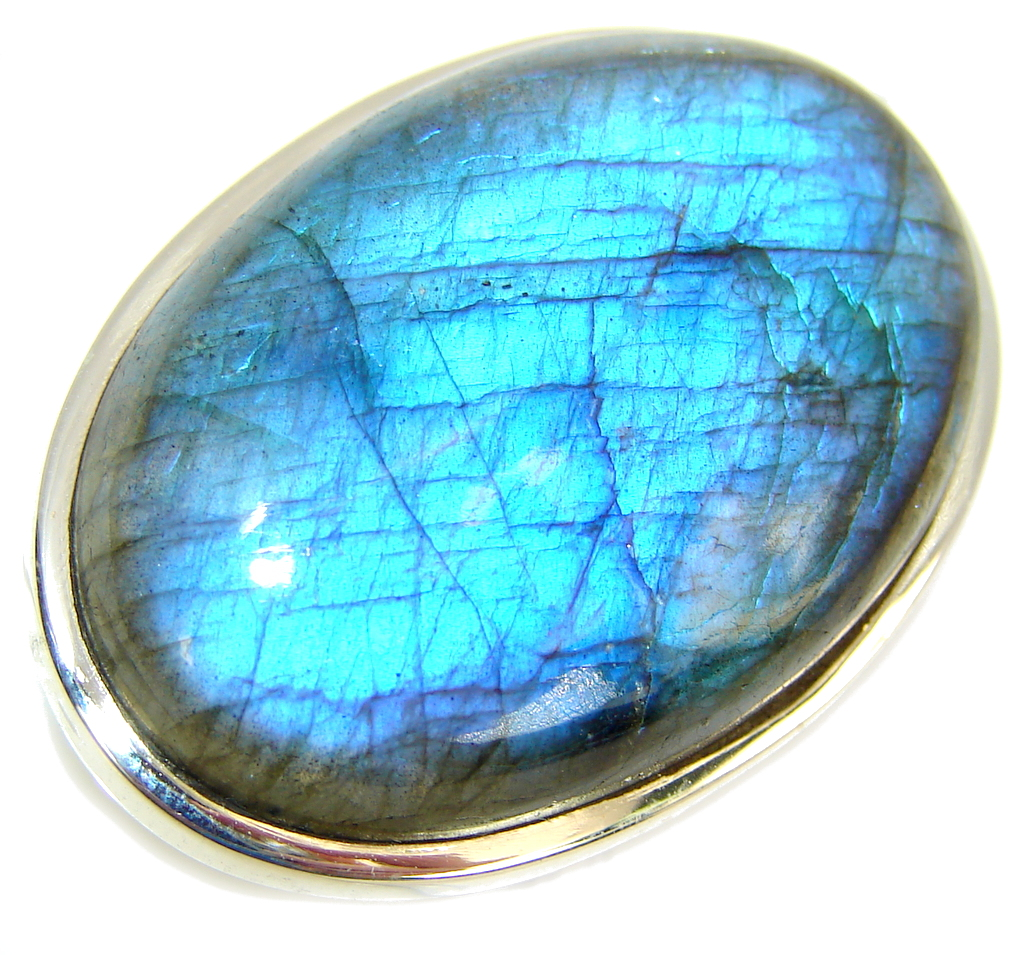 Captured Fire AAA Labradorite Sterling Silver Ring s. 7 1/2