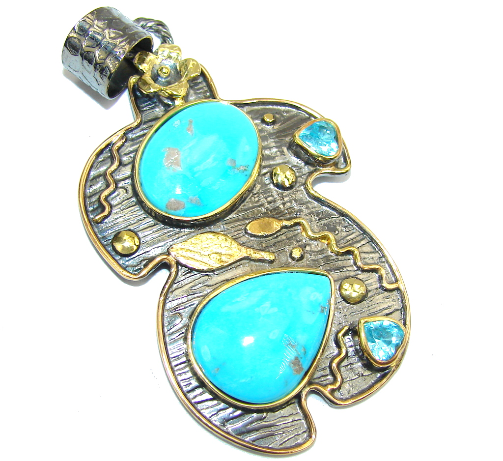 Stunning Sleeping Beauty AAA Blue Turquoise Gold Rhodium Plated Sterling Silver Pendant