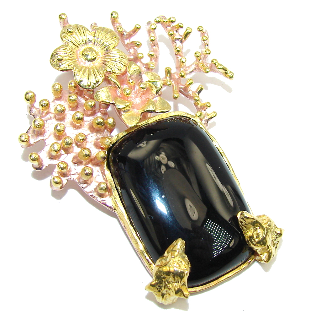 Big! Fashion Design Black Onyx Gold Plated over Sterling Silver Pendant