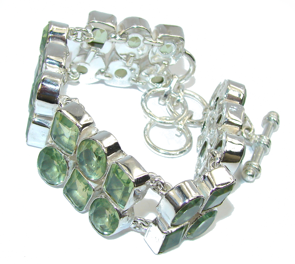 Queen Of Nature Created Green Peridot Sterling Silver Bracelet