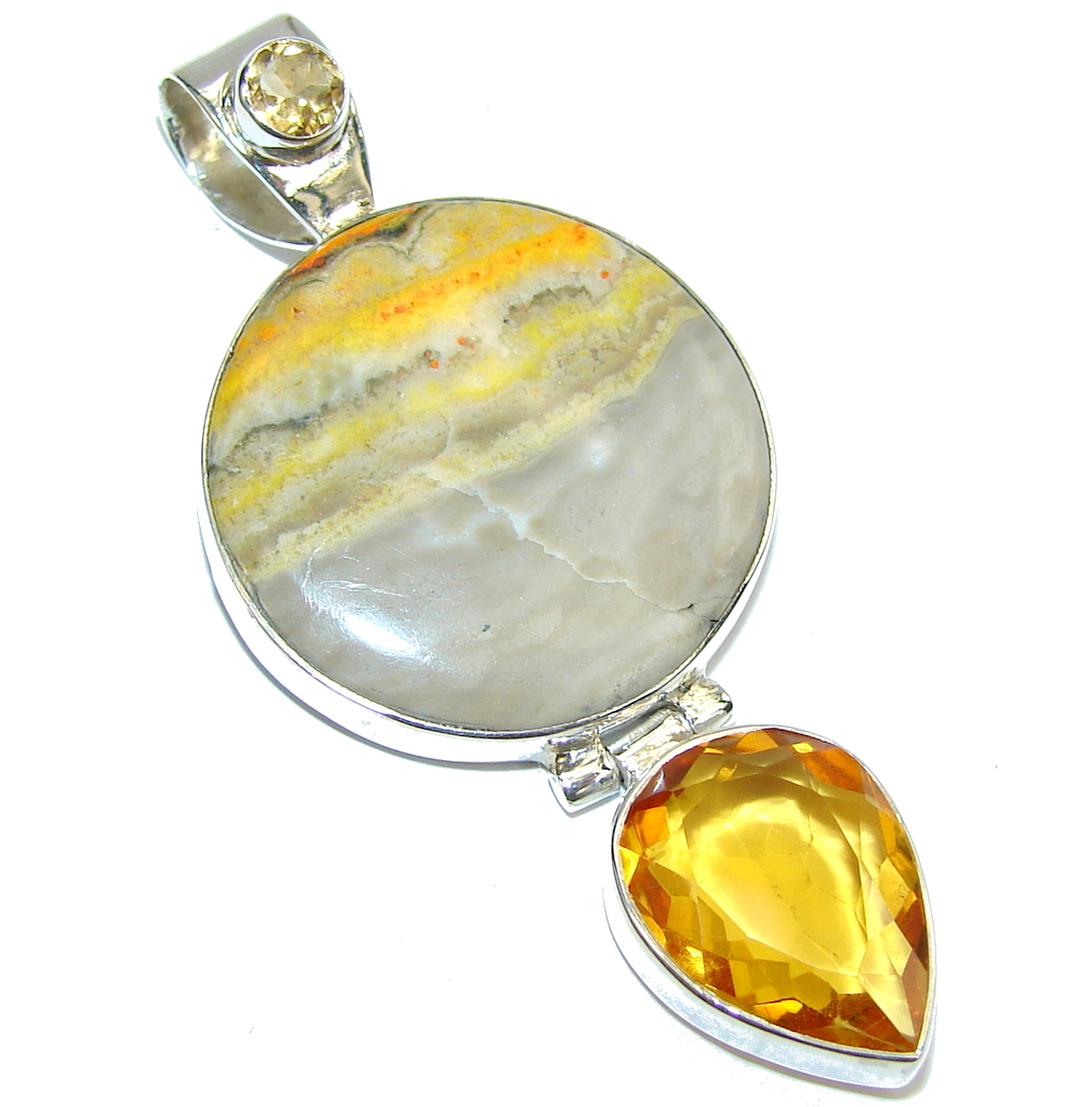 Amazing Storm Bumble Bee Jasper Sterling Silver Pendant