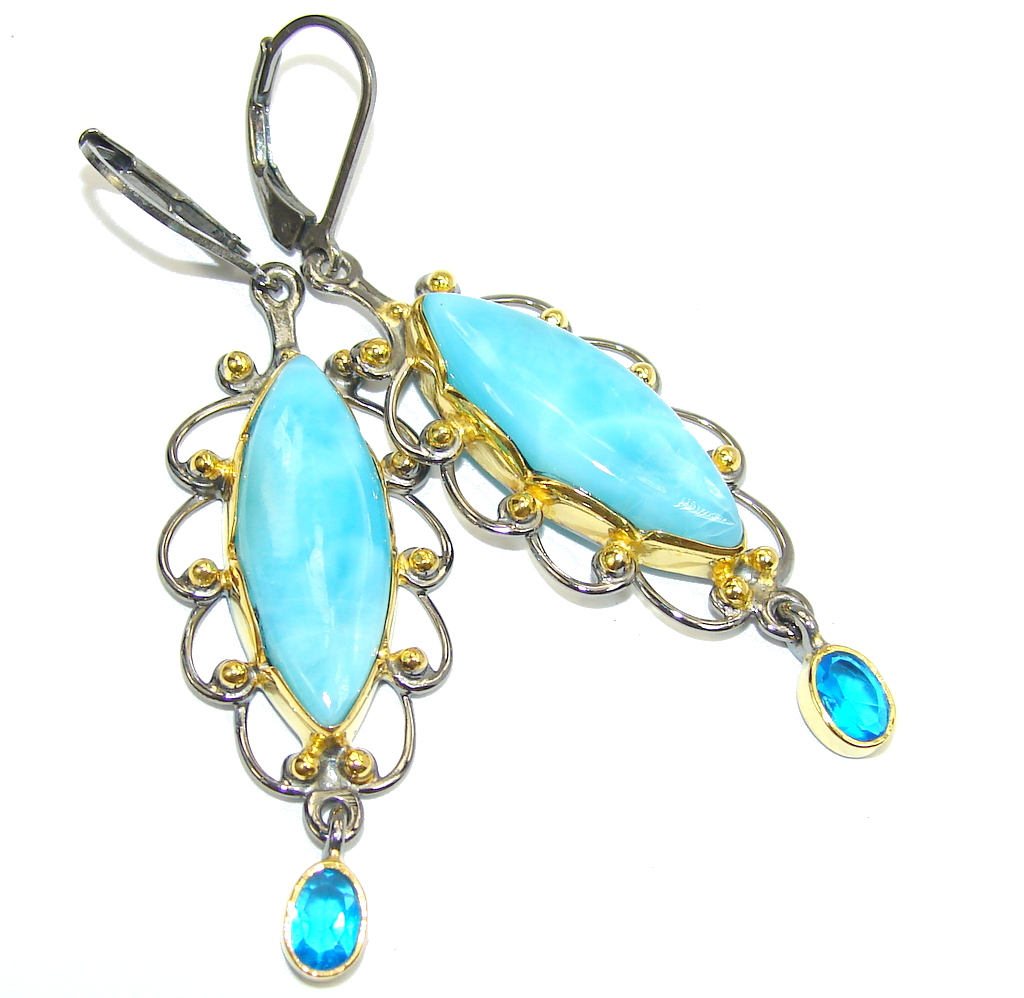 AAA Blue Larimar & London Blue Topaz, Gold Plated, Rhodium Plated Sterling Silver earrings