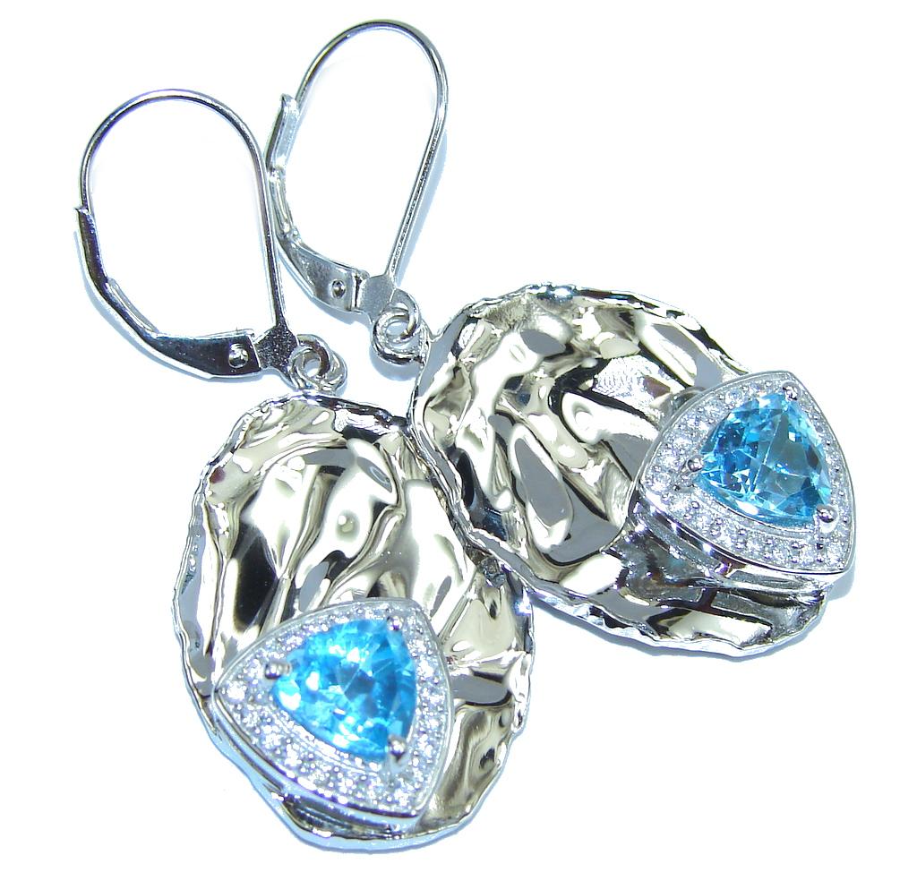 Ocean Breeze! AAA Swiss Blue Topaz & White Topaz Sterling Silver earrings
