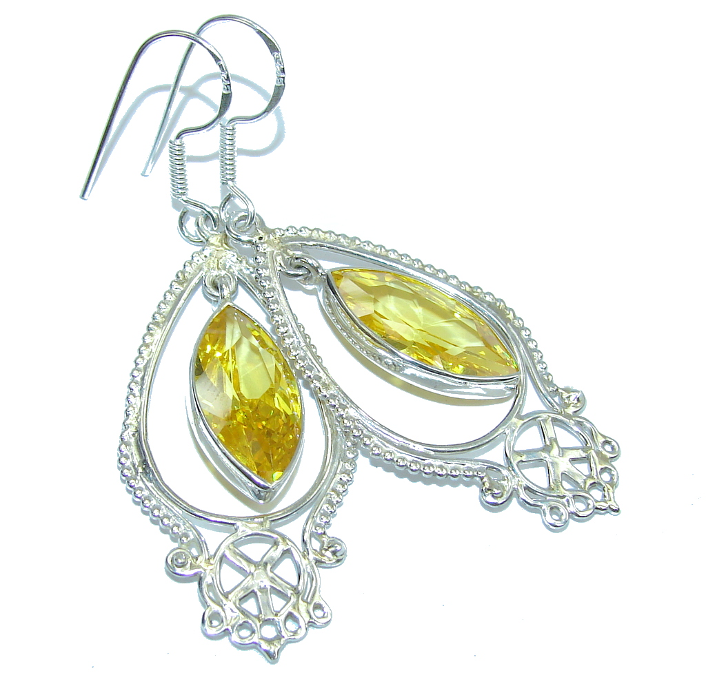 Bali Secret Yellow Quartz Sterling Silver earrings
