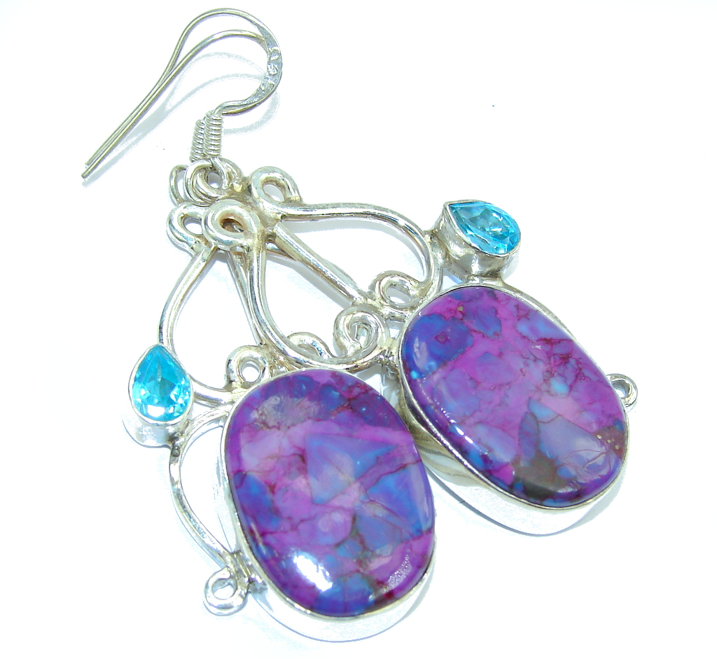Big! Lavender Dream Turquoise Sterling Silver earrings