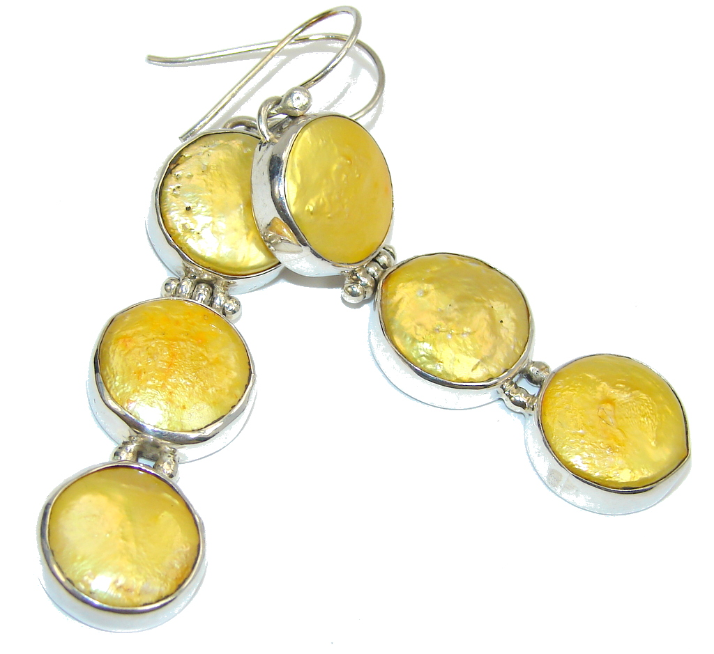 SunnyDay Yellow Mother Of Pearl Sterling Silver earrings