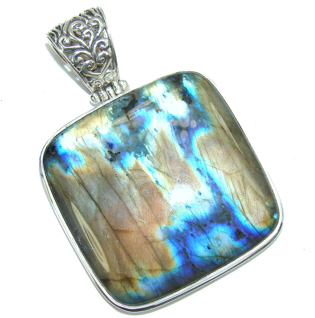 Big! Volcano of positive Energy AAA Fire Labradorite Sterling Silver Pendant