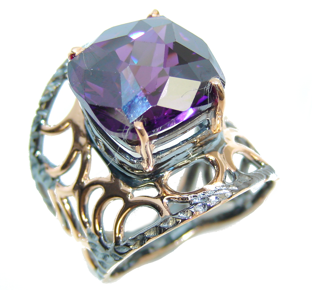 Amazing Created Alexandrite ,Rose Gold Plated, Rhodium Plated Sterling Silver Ring s. 7 1/2
