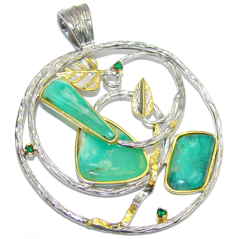 Beautiful AAA Green Chrysophrase, Two Tones Sterling Silver Pendant