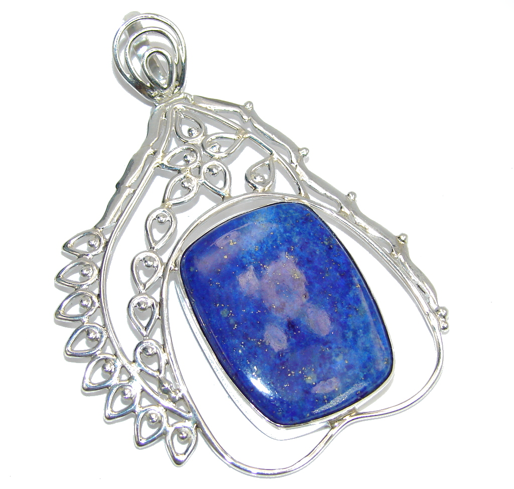 Big! Amazing Blue Lapis Lazuli Sterling Silver Pendant