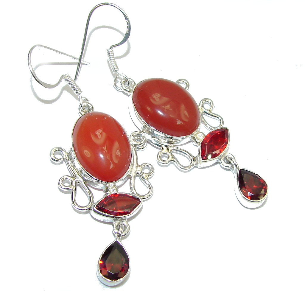 Delicate Orange Carnelian Sterling Silver earrings