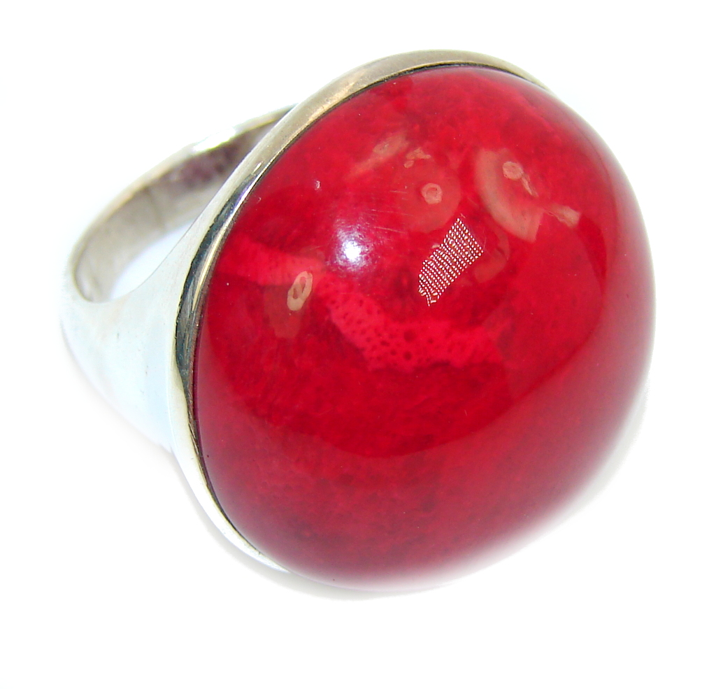 Big! Lovely Red Fossilized Coral Sterling Silver ring s. 8 1/2