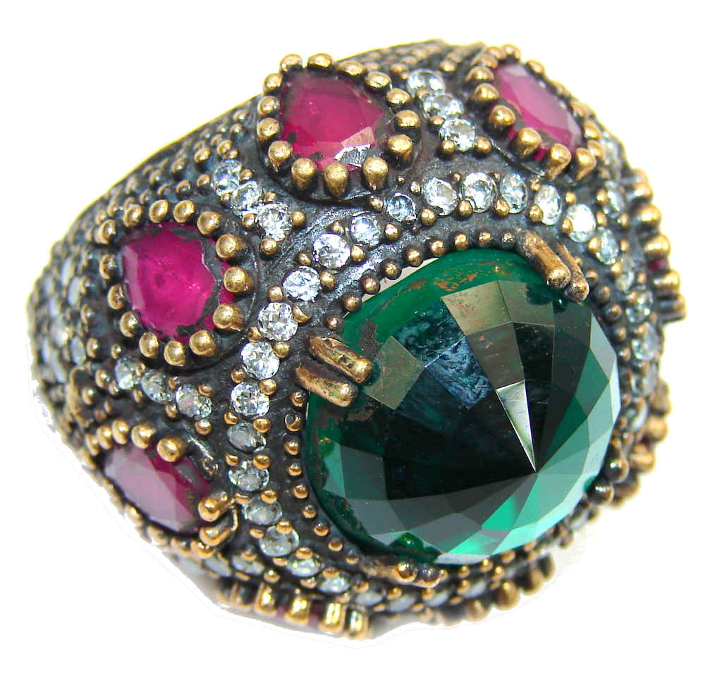 Big! Victorian Style! Created Emerald & White Topaz Sterling Silver Ring s. 7 1/2