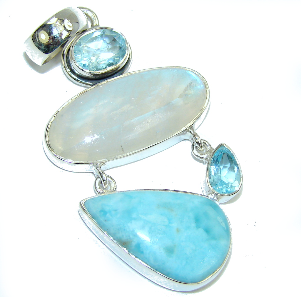Passion Beauty AAA Moonstone & Larimar Sterling Silver Pendant