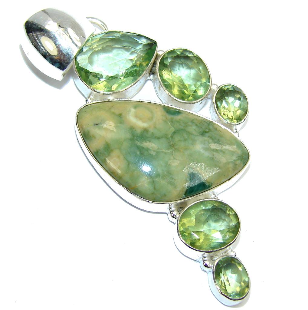 Big! Green Beauty AAA Rainforest Jasper Sterling Silver Pendant