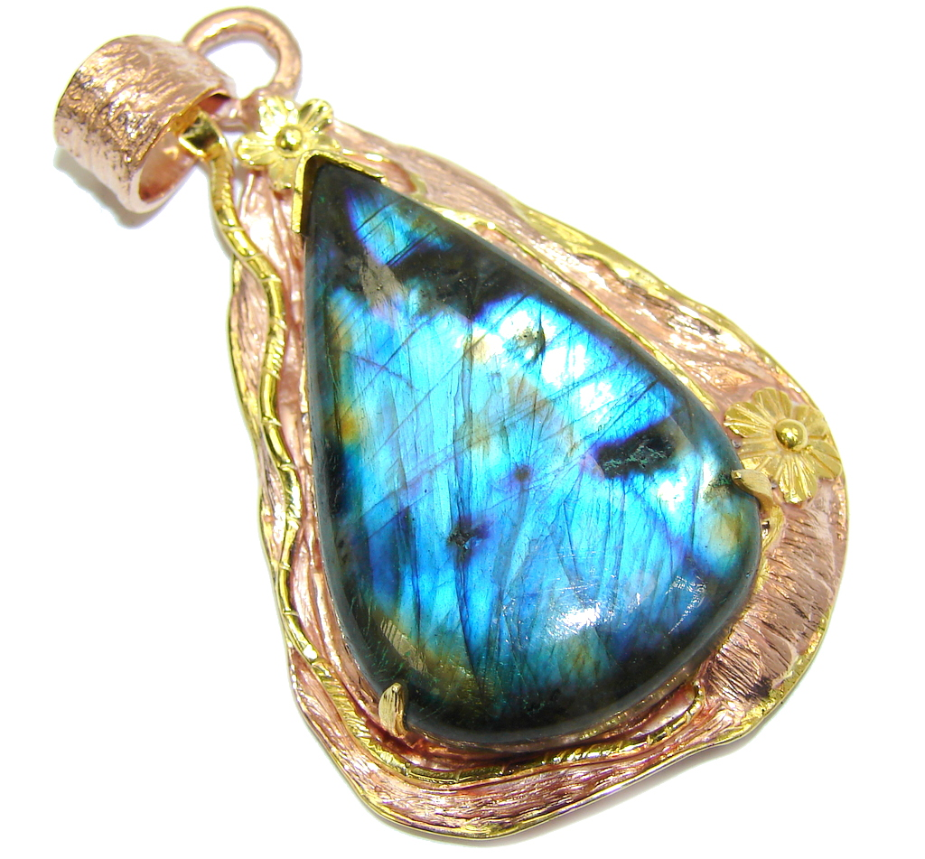 Big! Stunning AAA Blue Fire Labradorite, Rose & Gold Plated Sterling Silver Pendant
