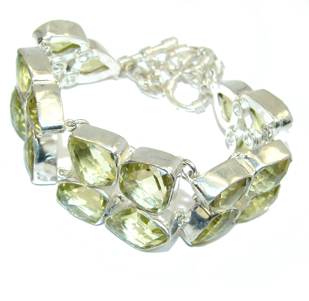 Summer Beauty! Faceted Citrine Sterling Silver Bracelet