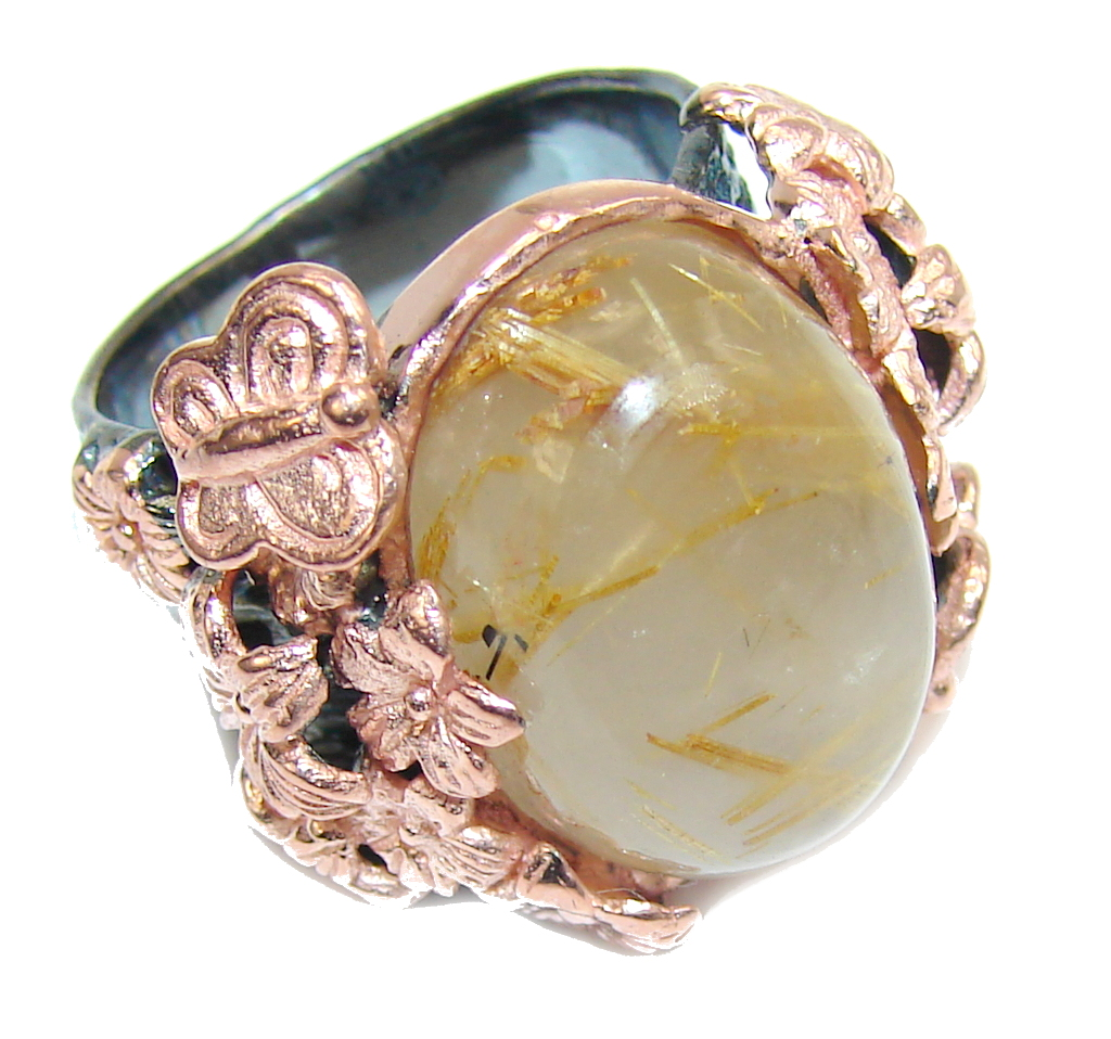 Beautiful AAA Golden Rutilated Quartz, Rose Gold Plated, Rhodium Plated Sterling Silver Ring s. 6