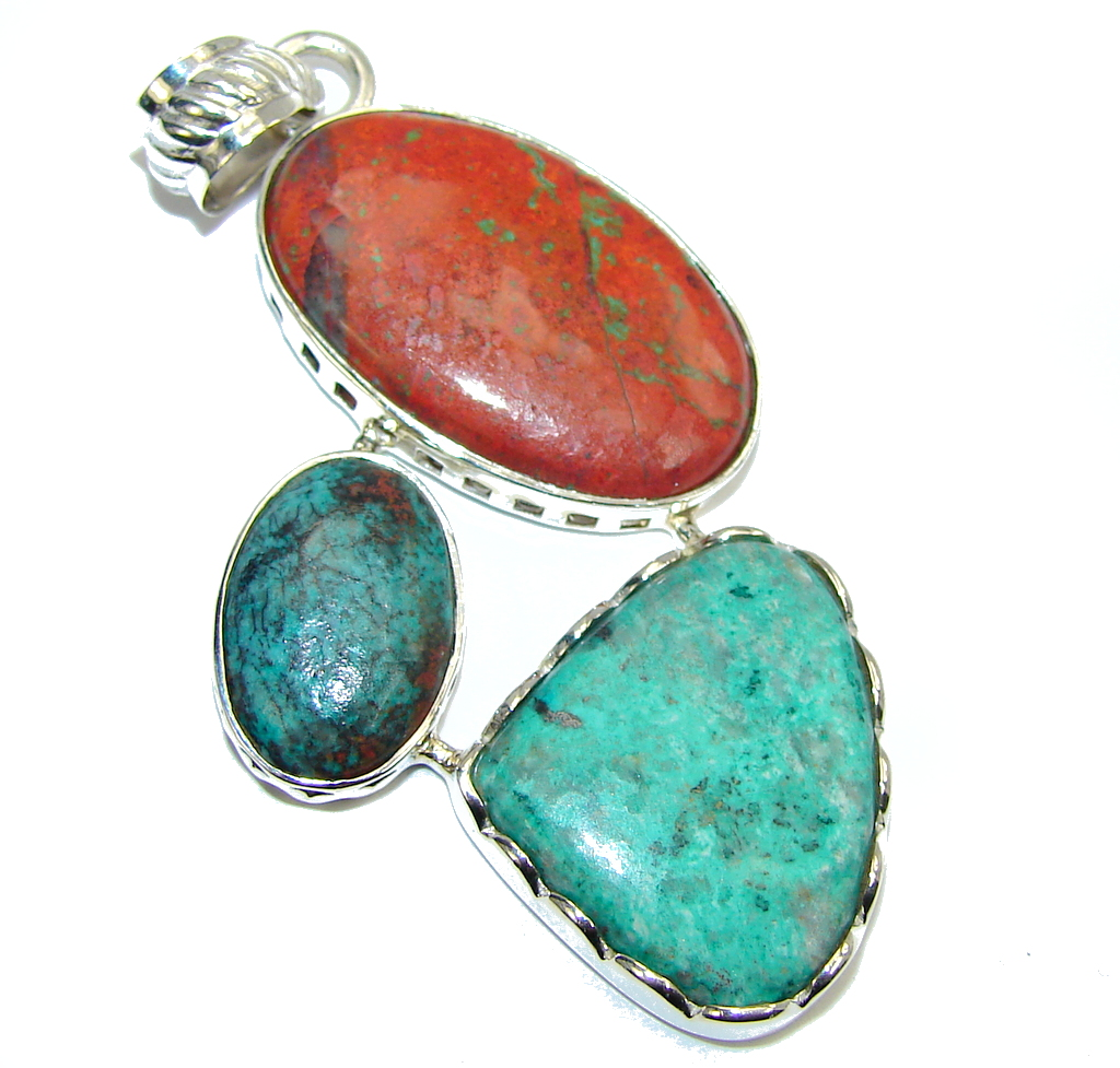 Amazing Red Sonora Jasper Sterling Silver Pendant
