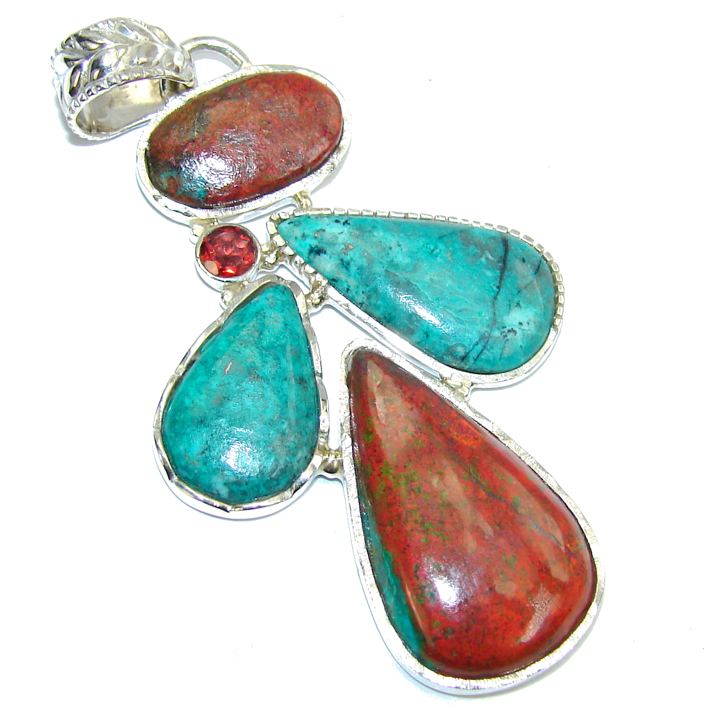 Beauty AAA Red Sonora Jasper & Garnet Sterling Silver Pendant