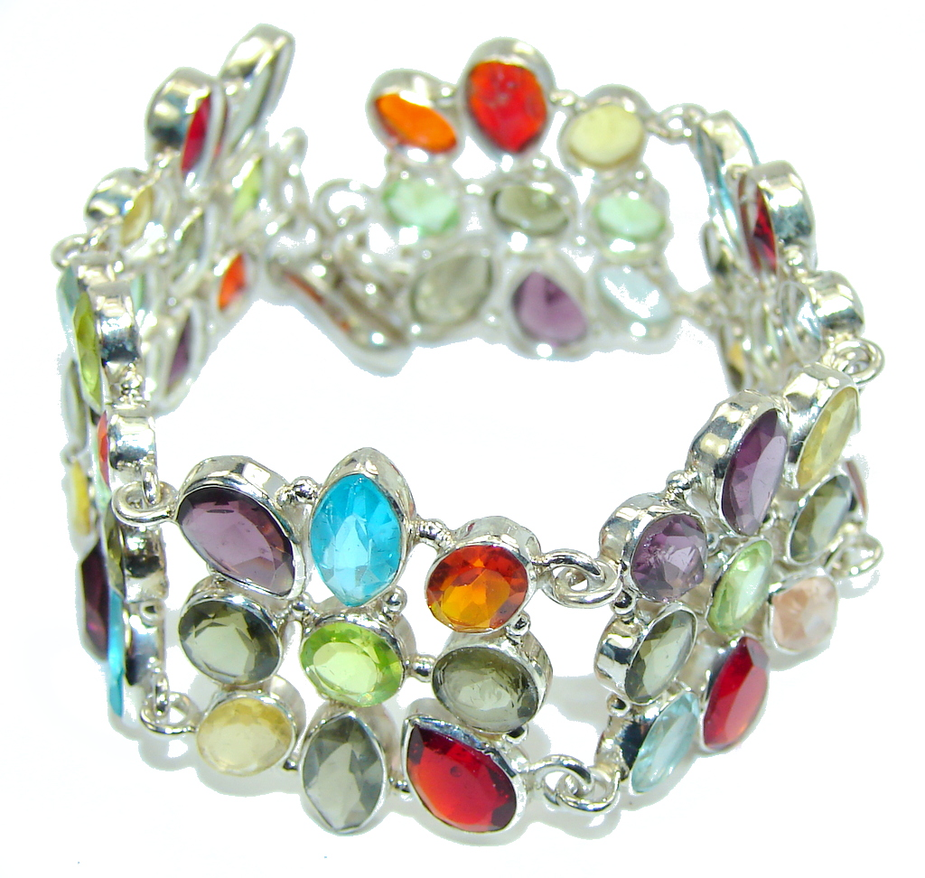 Aura Of Beauty! Multicolor Quartz Sterling Silver Bracelet