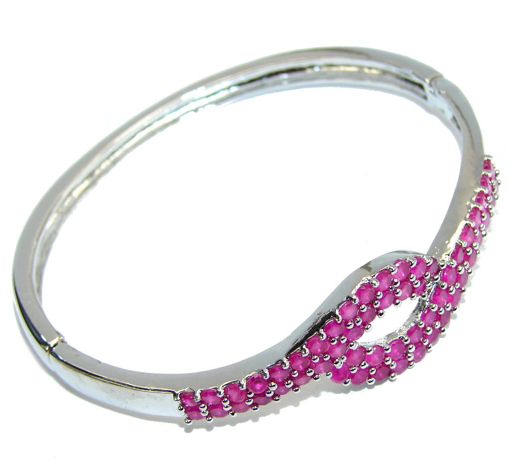 Delicate Beauty AAA Pink Ruby Sterling Silver Bracelet / Cuff