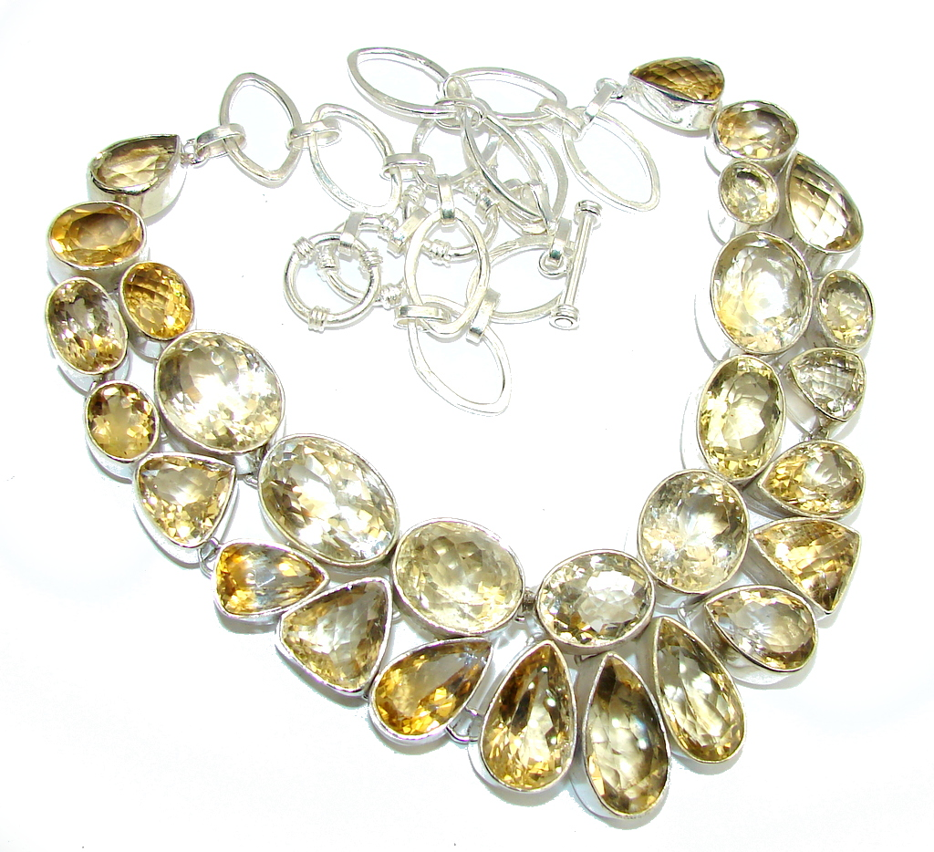 SunRise Joy AAA Yellow Citrine Sterling Silver Necklace