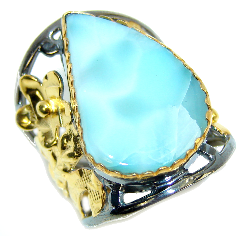 AAA Blue Larimar, Gold Plated, Rhodium Plated Sterling Silver Ring s. 8