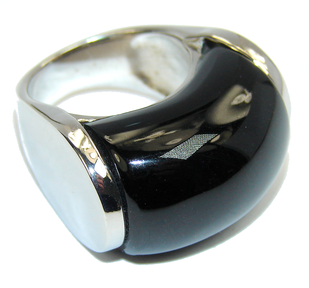 Amazing Style AAA Black Onyx Sterling Silver ring s. 6