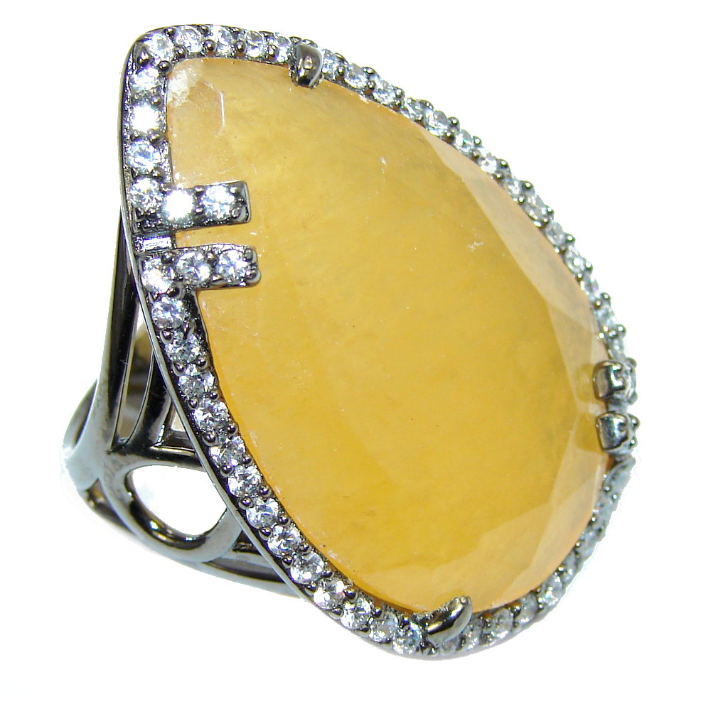 Stunning AAA Created Yellow Sapphire & White Topaz, Rhodium Plated Sterling Silver Ring s. 8
