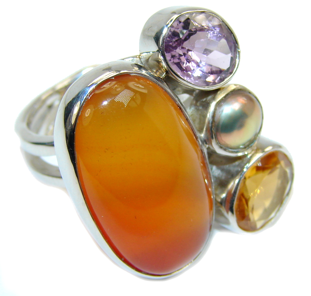 Big! Precious Orange Carnelian Sterling Silver ring s. 7 adjustable