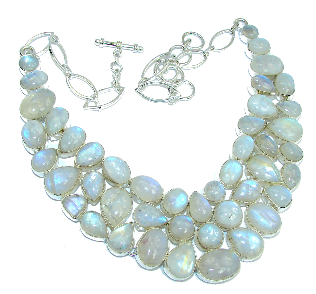 Mesmerizing AAA White Fire Moonstone Sterling Silver necklace