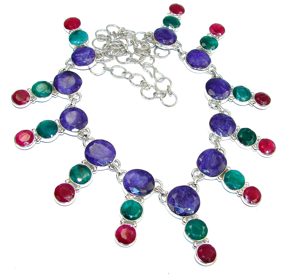 Fabulous Emerald, Ruby, Sapphire  Sterling Silver necklace