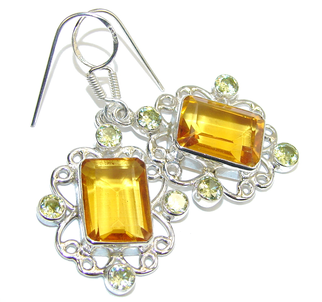 Fashion Beauty  Orange Quartz Peridot Sterling Silver earrings