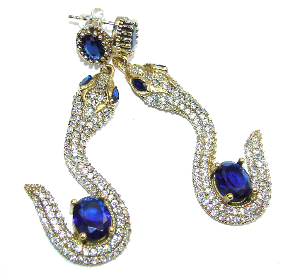 Victorian Style! Snakes Sapphire & White Topaz Sterling Silver earrings