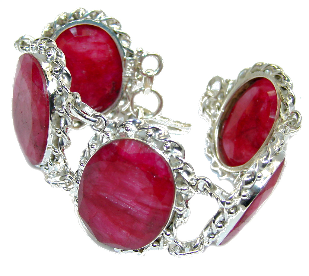 Natural Beauty Pink Ruby Sterling Silver Bracelet