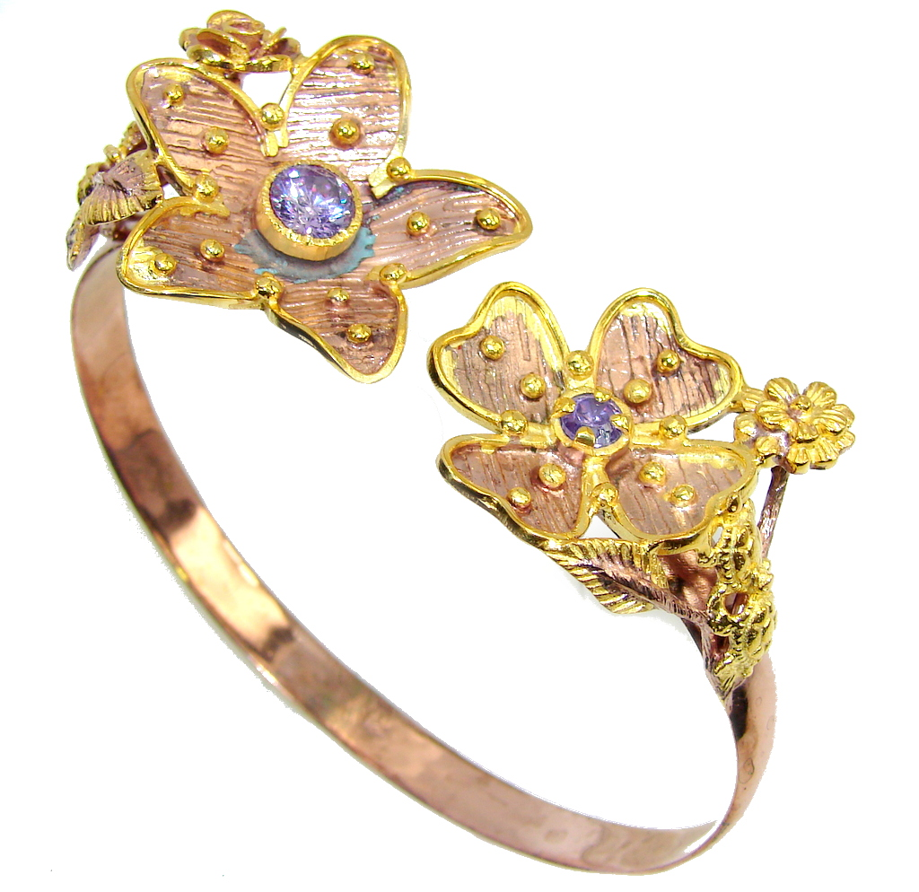 Genuine Light Blue Tanzanite, Rose & Gold Plated Sterling Silver Bracelet / Cuff