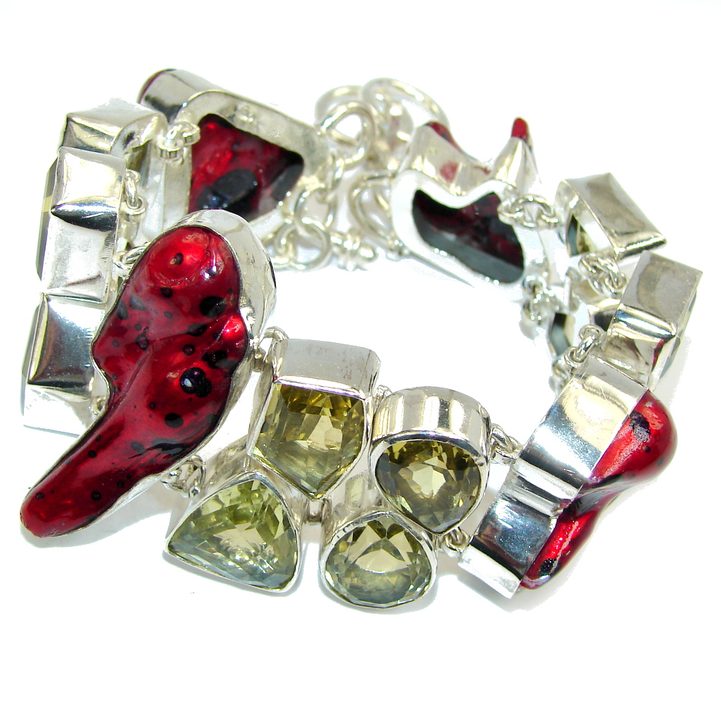Pale Beauty! Red Mother Of Pearl Sterling Silver Bracelet