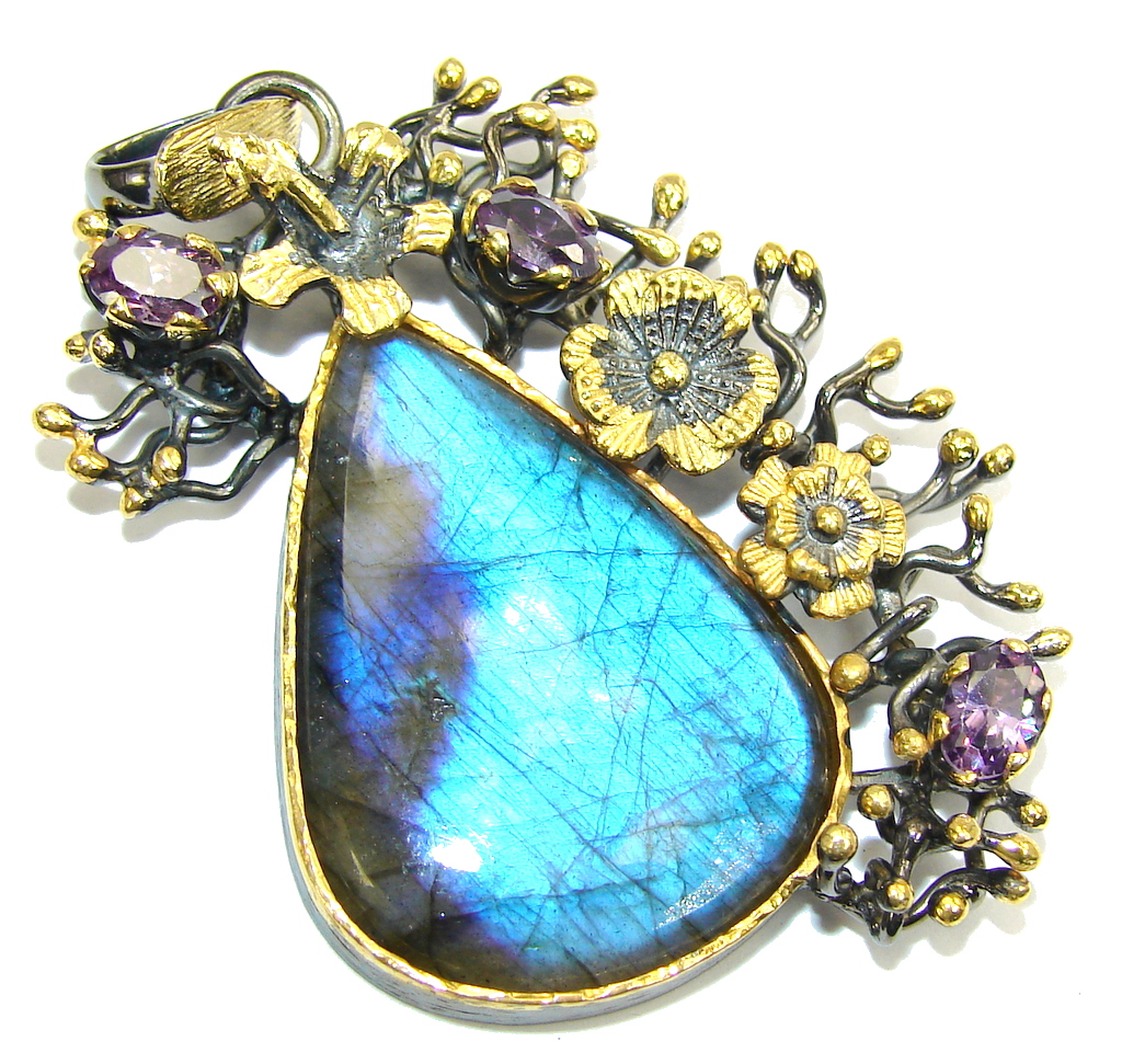 Big! Stunning AAA Blue Fire Labradorite, Gold Plated Sterling Silver Pendant