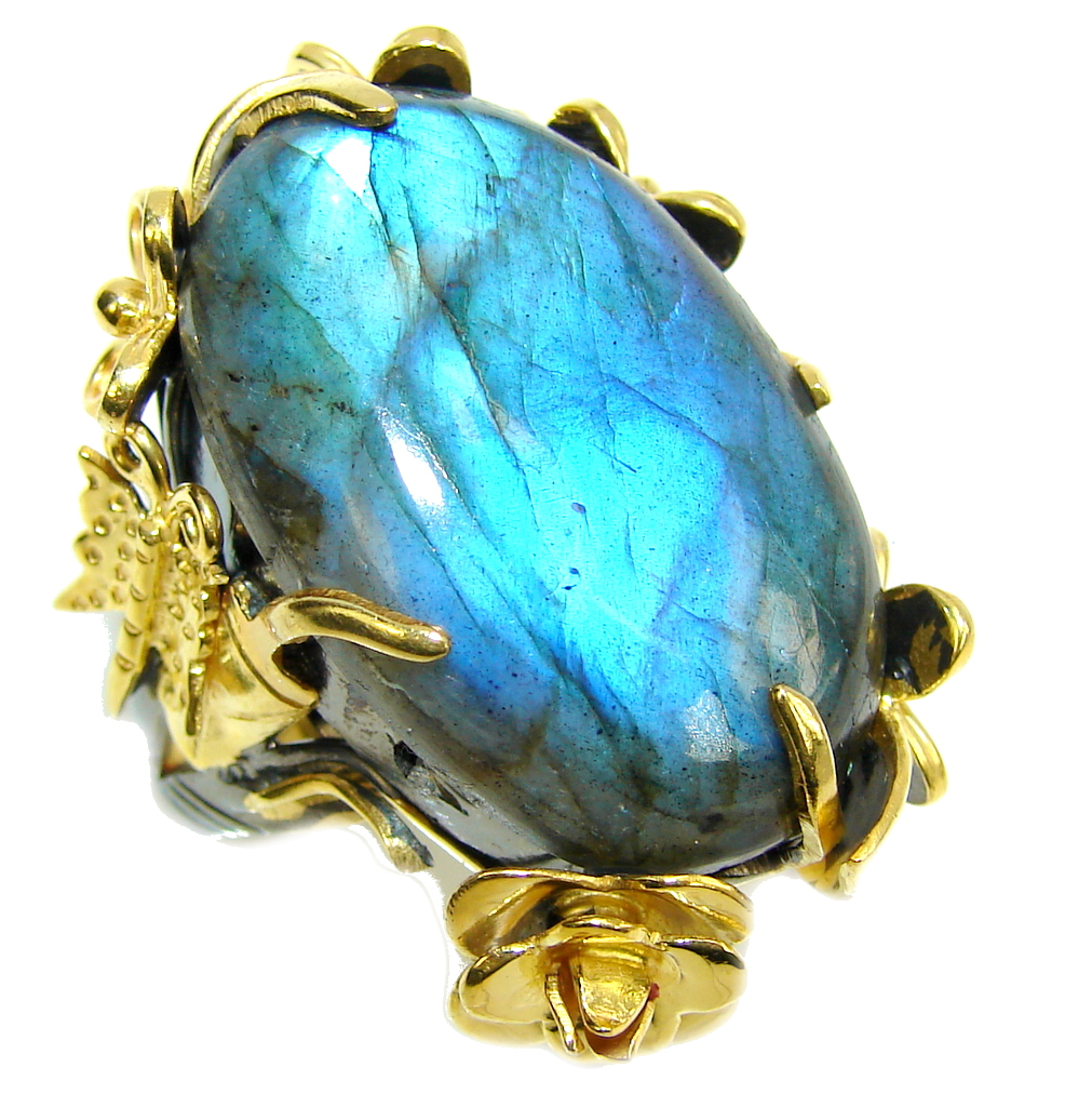 Big! Romantic Real AAA Fire Labradorite, Gold plated, Rhodium Plated Sterling Silver ring s. 8 1/4