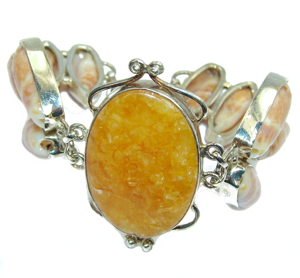 Secret Beauty Golden Calcite & Shell Sterling Silver Bracelet