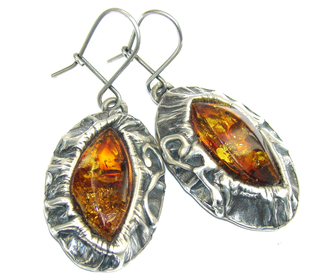 Big! Classic Beauty AAA Russian Amber Sterling Silver Earrings
